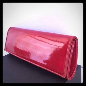 LIPSTICK RED ALDO FOLDOVER PATENT CLUTCH PURSE
